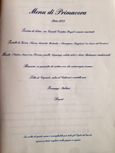 Primeira página do menu