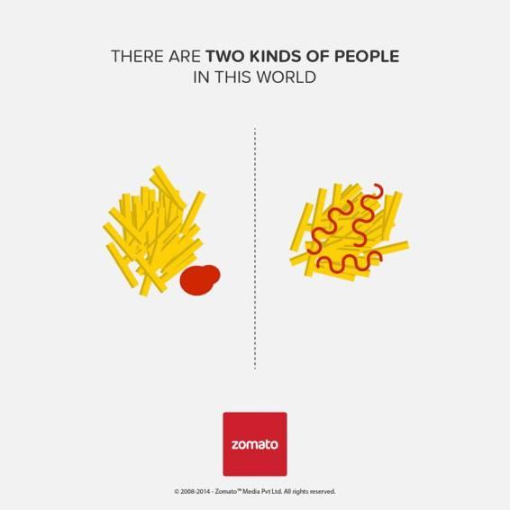 """O que faz uma """"poça"""" de ketchup e mergulha as batatinhas dentro; e o que joga o ketchup nelas"""