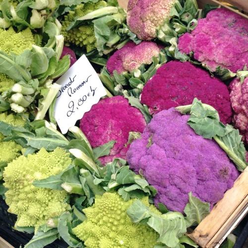 Brócolis romano e couves-flores roxas