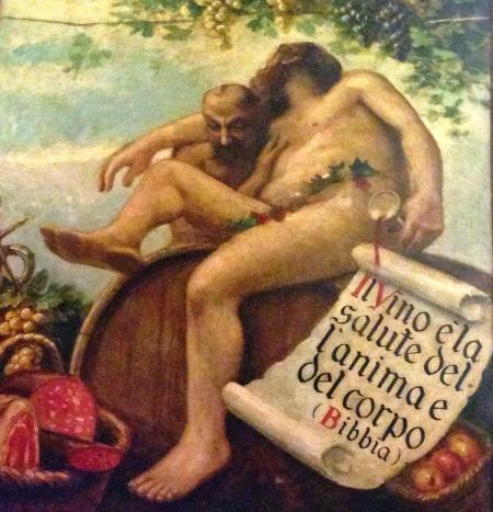 """Um dos quadros do local: """"O vinho é a saúde da alma e do corpo (Bíblia)"""""""
