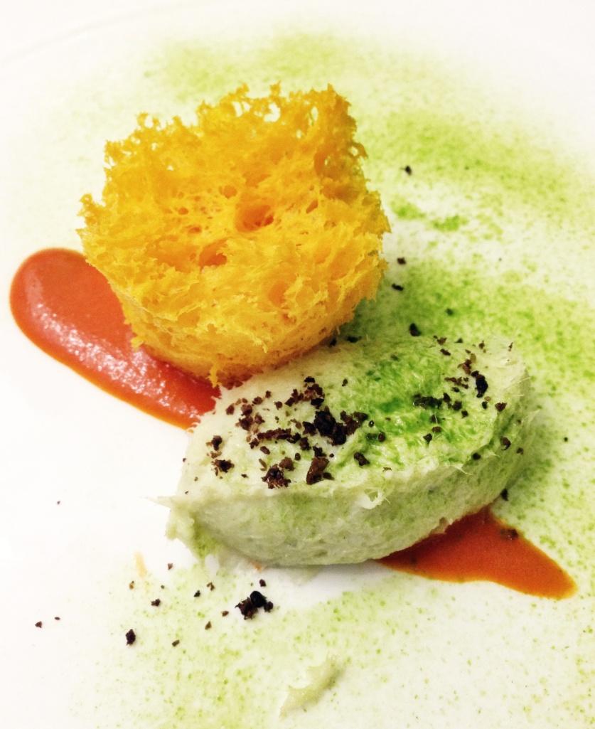 Creme Bacalhau (baccalà mantecato) e esponja de pimentões
