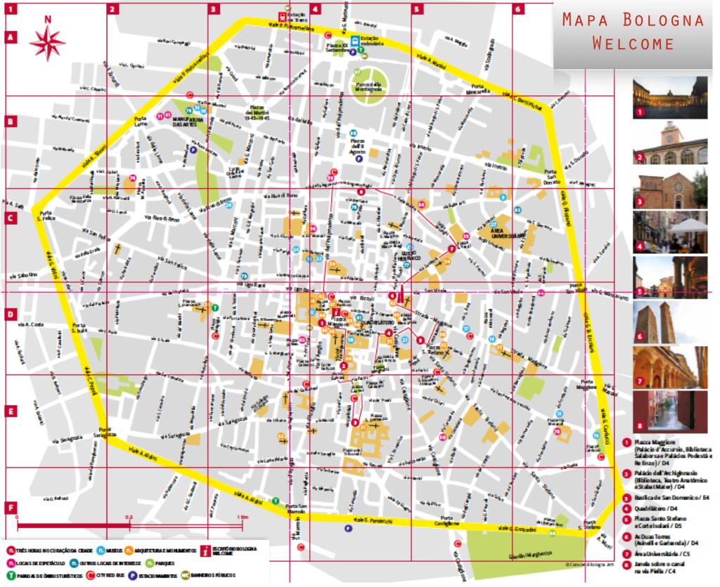 """Este é o mapa turístico """"oficial"""" de Bologna. Clique na figura para vê-lo em detalhes  (fonte: Bologna Welcome)"""