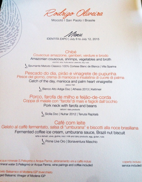 Menu do Rodrigo Oliveira no Identità Expo