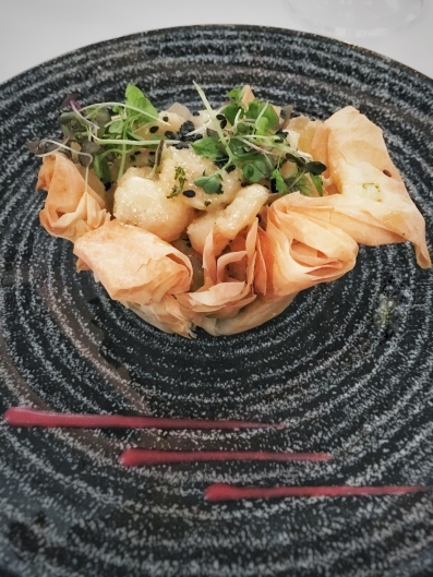 Phyllo langoustines and white chocolate
